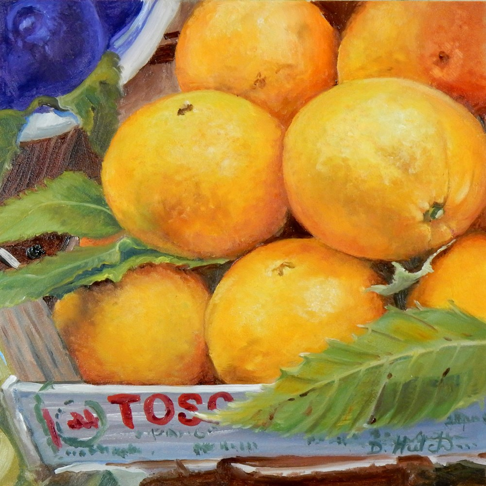 """Market series #1, Oranges"" original fine art by Diane Hutchinson"