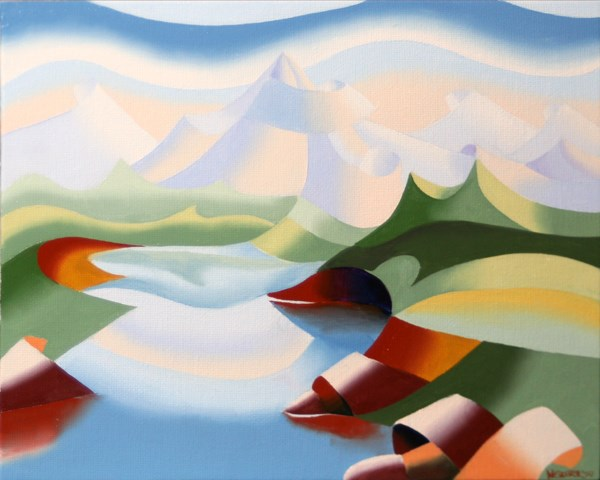 """Mark Webster - Abstract Geometric Mountain River Landscape Oil Painting"" original fine art by Mark Webster"