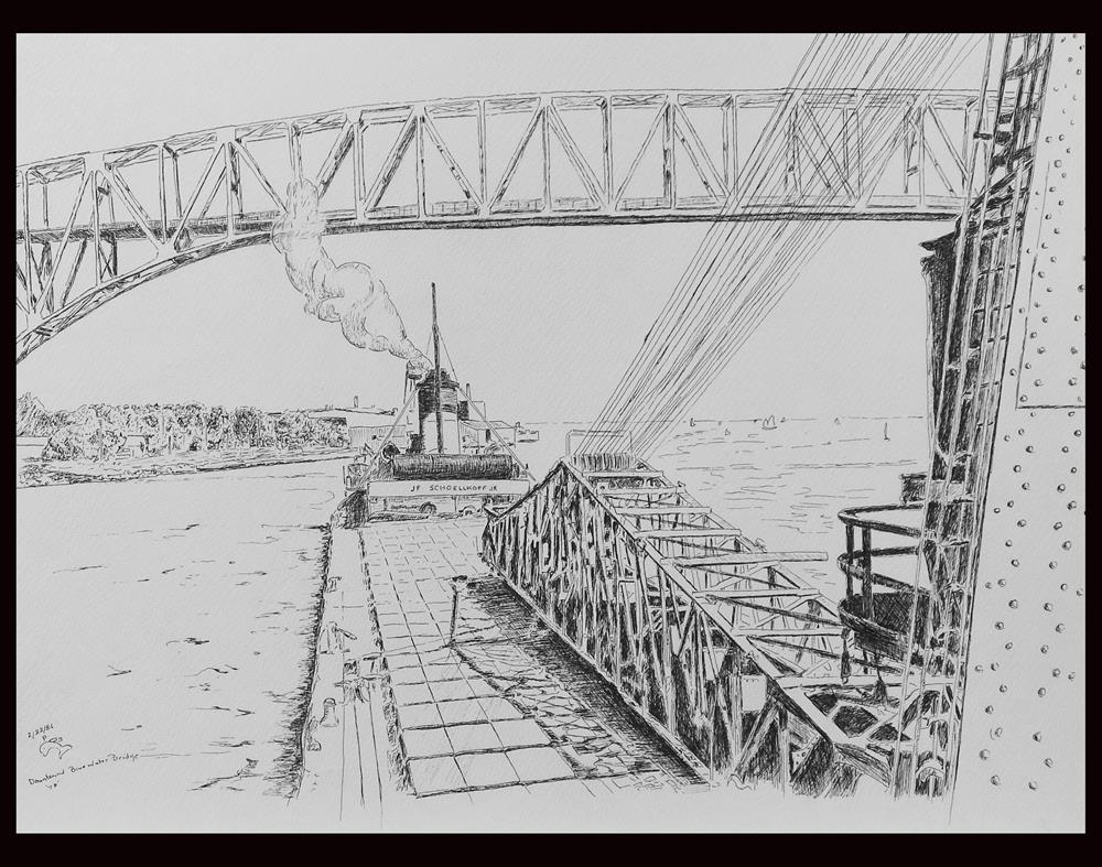 """Downbound Blue Water Bridge"" original fine art by Captain B Smith"