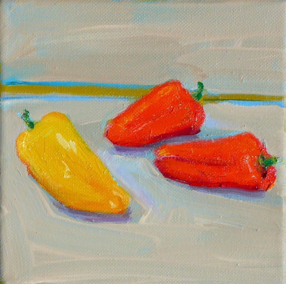 """Very Hot Peppers,still life,oil on canvas,6x6,price$100"" original fine art by Joy Olney"