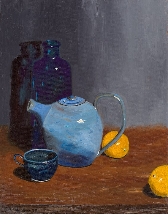 """Wild Blue Teapot"" original fine art by Bob Blackmon"