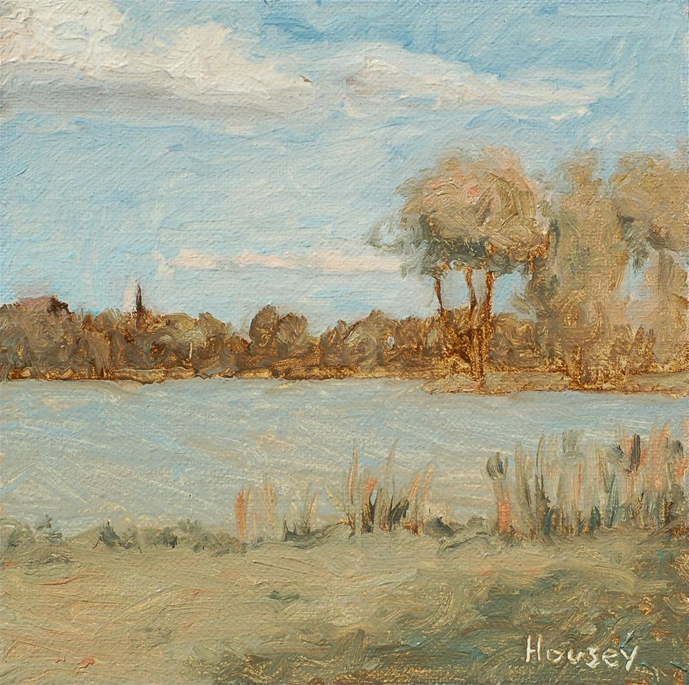 """Sunny college lake"" original fine art by Bruce Housey"