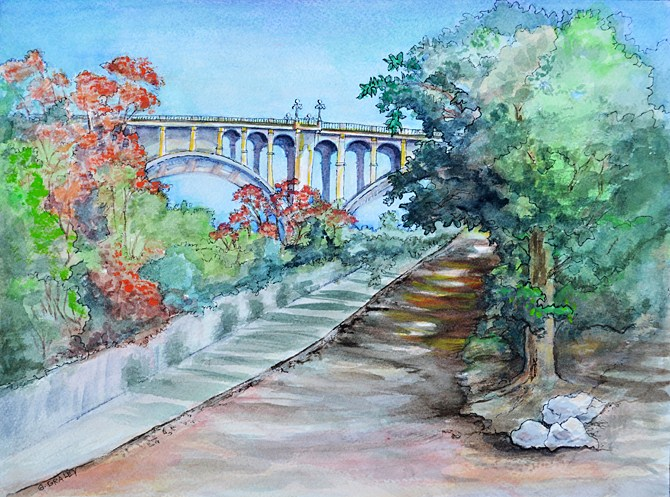 """Colorado Street Bridge"" original fine art by Geri Graley"
