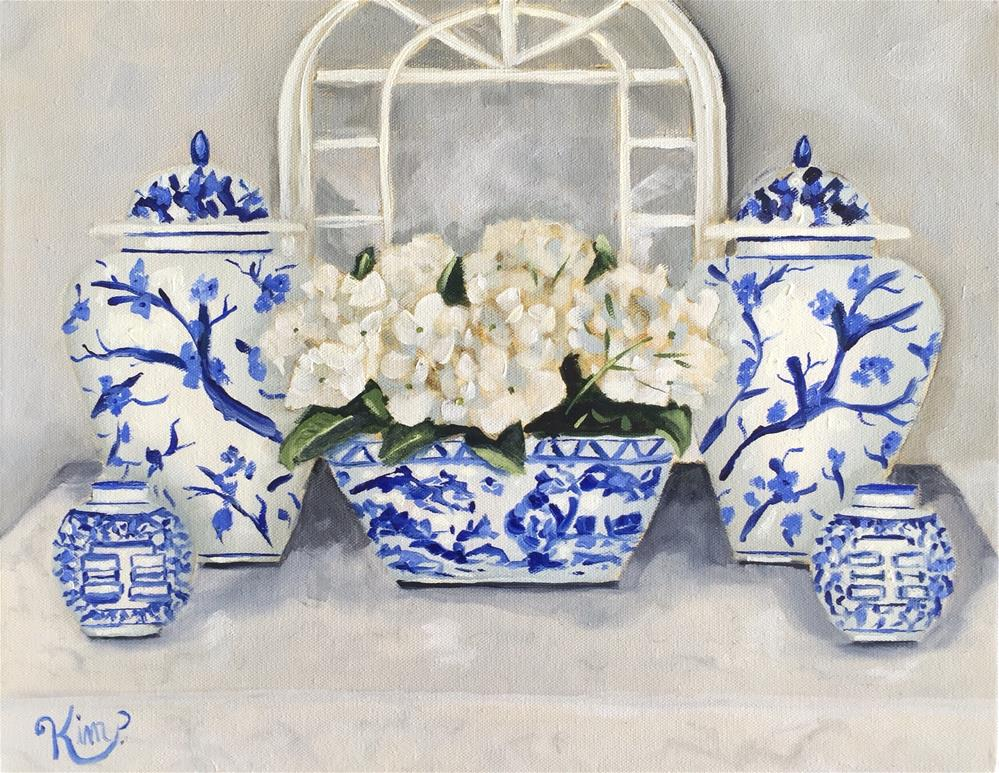 """Blue and White Chinoserie Still Life with Hydrangeas and Mirror"" original fine art by Kim Peterson"