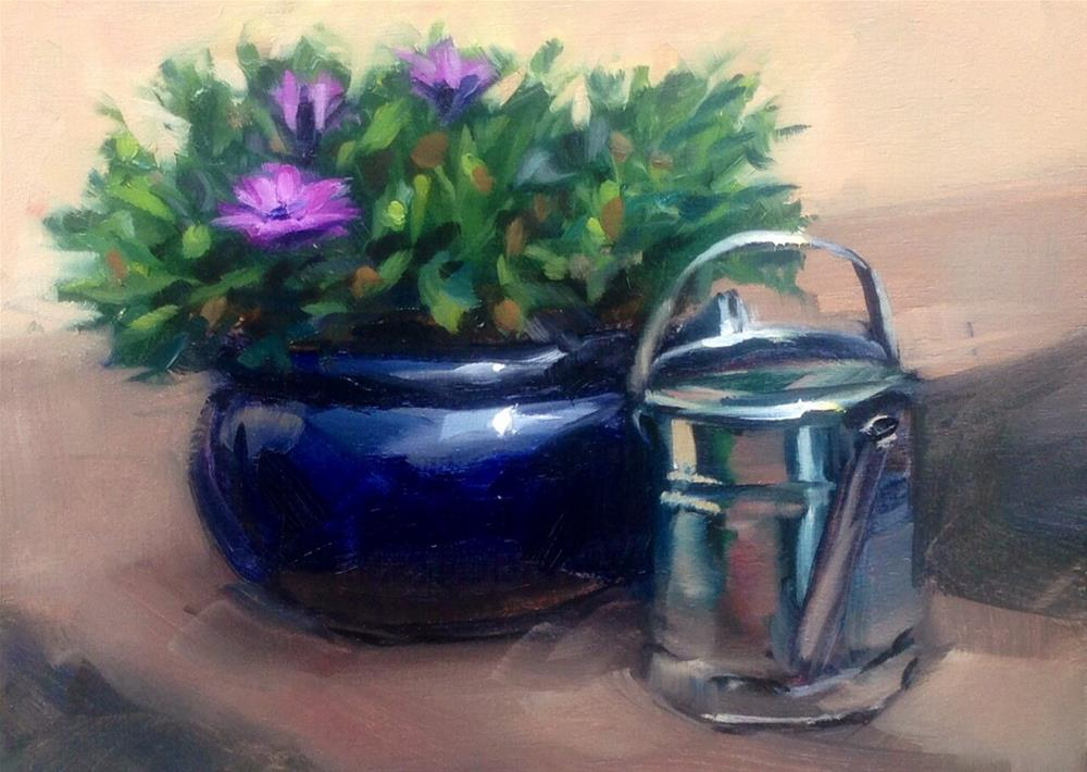 """Watering can pause"" original fine art by Thomas Ruckstuhl"