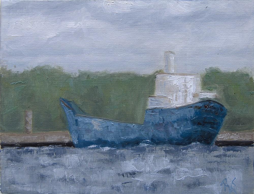 """""""Little Blue Boat"""" original fine art by Rachel Steely"""