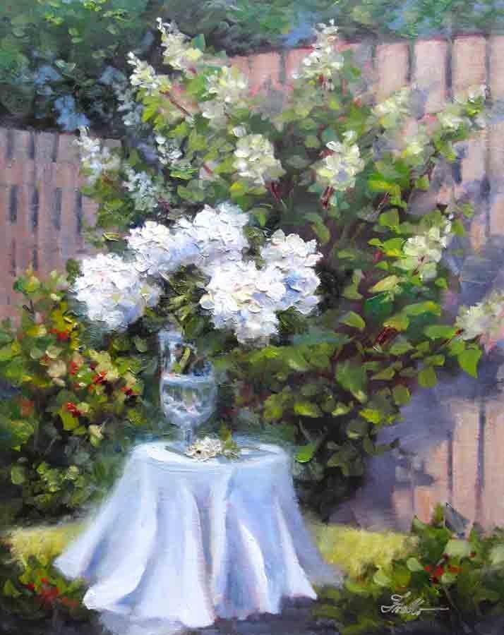 """Backyard Bliss"" original fine art by Pat Fiorello"