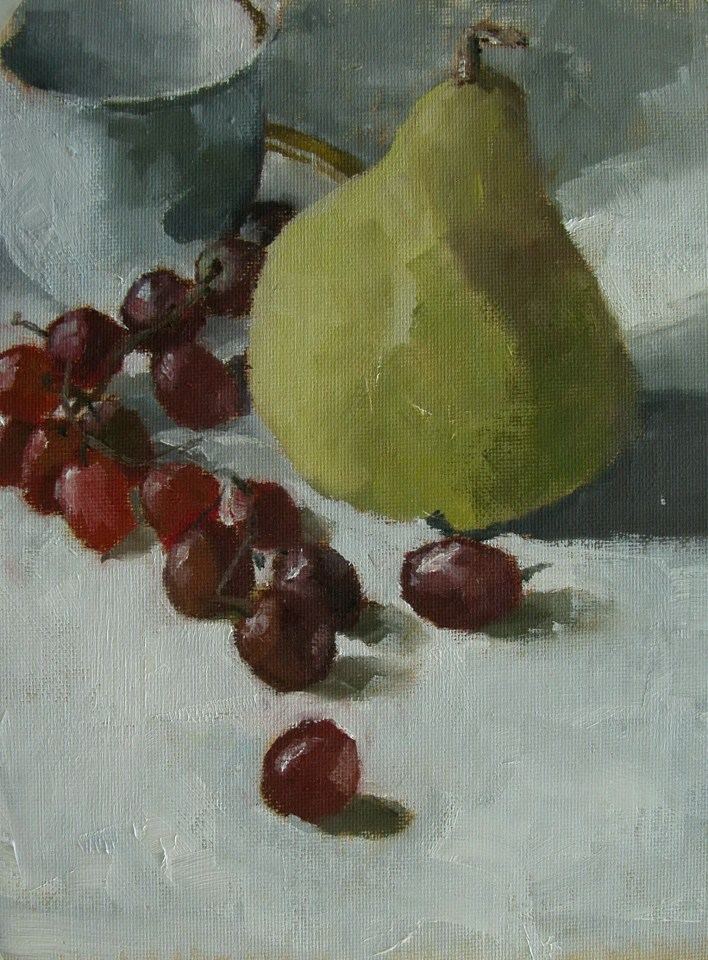 """Pear and Grapes"" original fine art by Richard Jones"