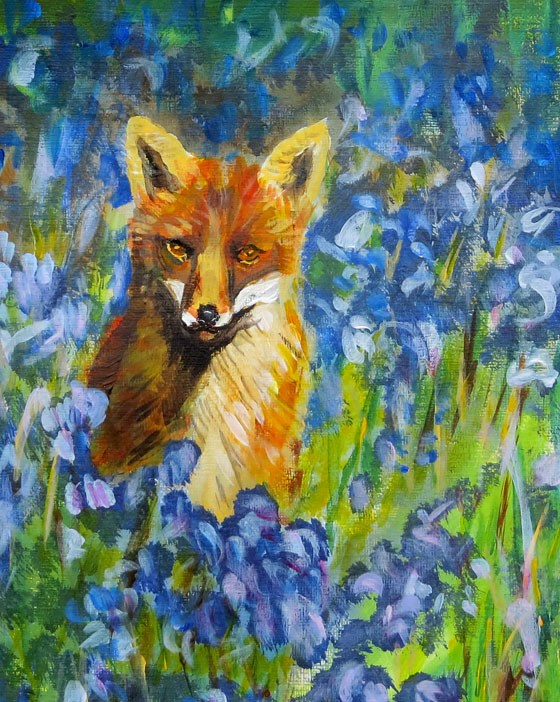 """Fox in the Bluebells"" original fine art by Susan  Mackenzie"
