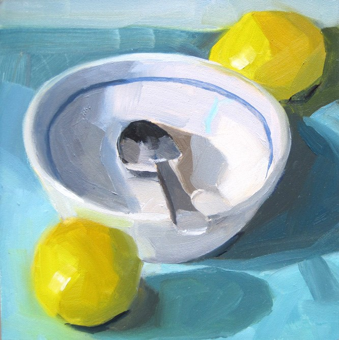 """White Bowl and Lemons"" original fine art by Robin Rosenthal"