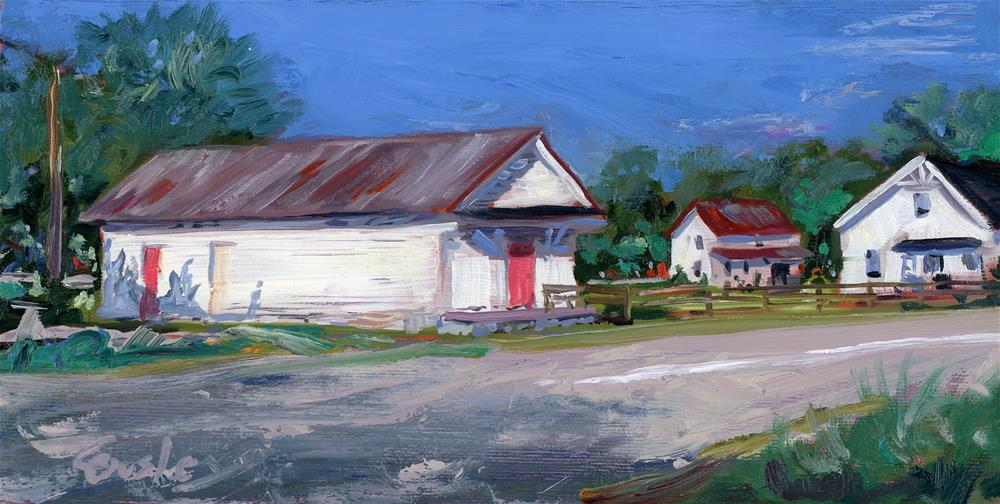 """""""White Building in Liberty TN"""" original fine art by Chris Ousley"""