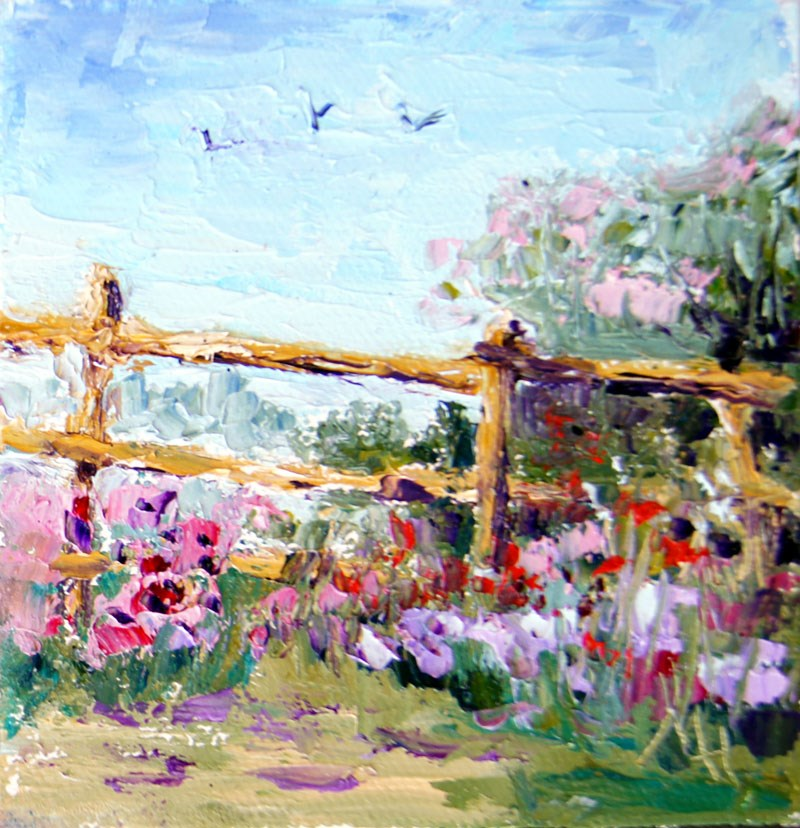 """Country Fence"" original fine art by Marion Hedger"