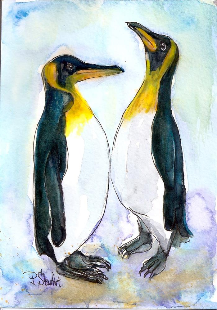 """5x7 Emperor Penguins Watercolor Birds Illustration by Penny StewArt"" original fine art by Penny Lee StewArt"