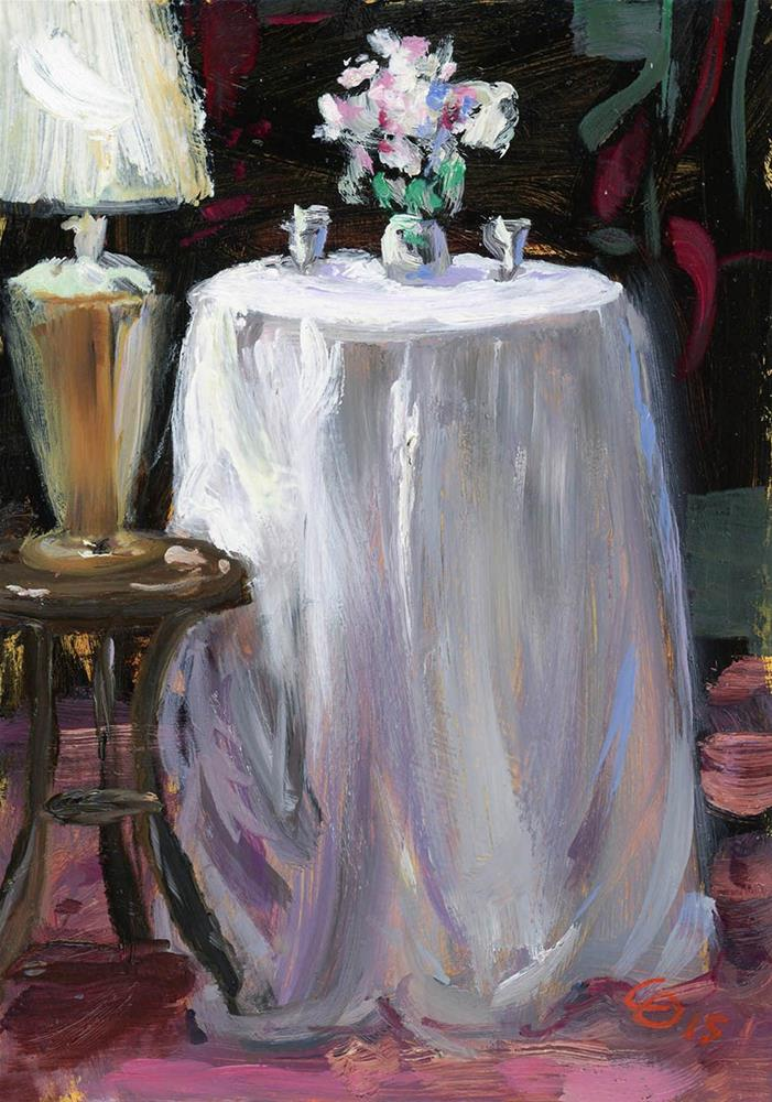 """Silver and Flowers Still Life at Hermitage Hotel, Nashville"" original fine art by Chris Ousley"