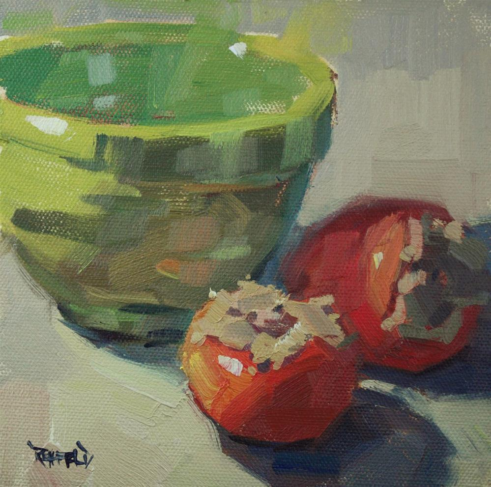 """Persimmons and Green Bowl"" original fine art by Cathleen Rehfeld"