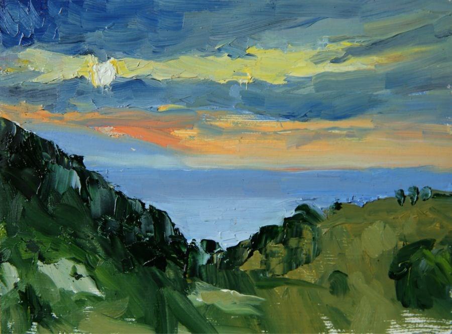 """Aegean Sunset"" original fine art by Jethro Knight"