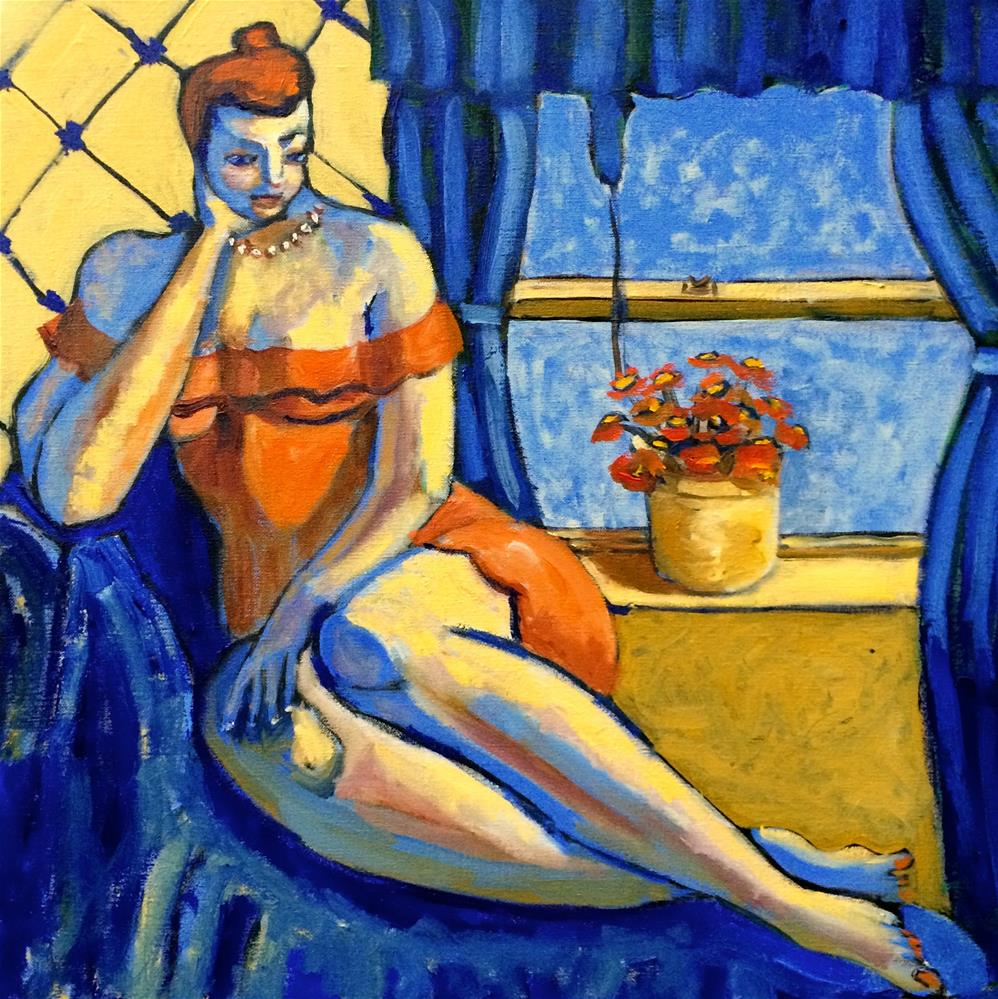"""Woman in an Orange Dress"" original fine art by Darryl Freeman"