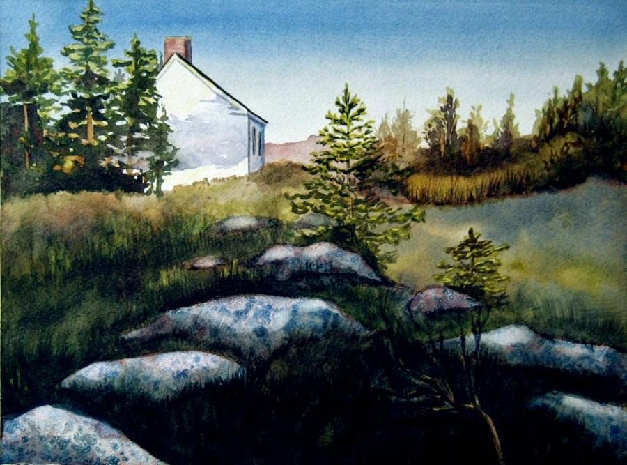 """Monhegan Cottage"" original fine art by Katharine Cartwright"