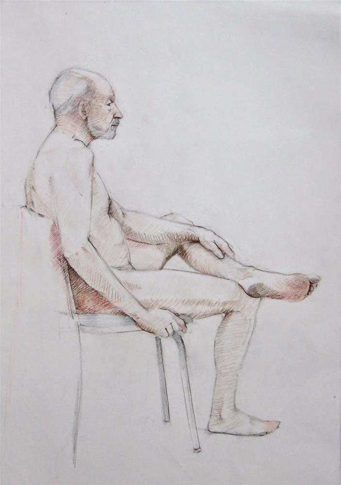 """Russ Sitting,figure,graphite pencil on paper,24x18,priceNFS"" original fine art by Joy Olney"