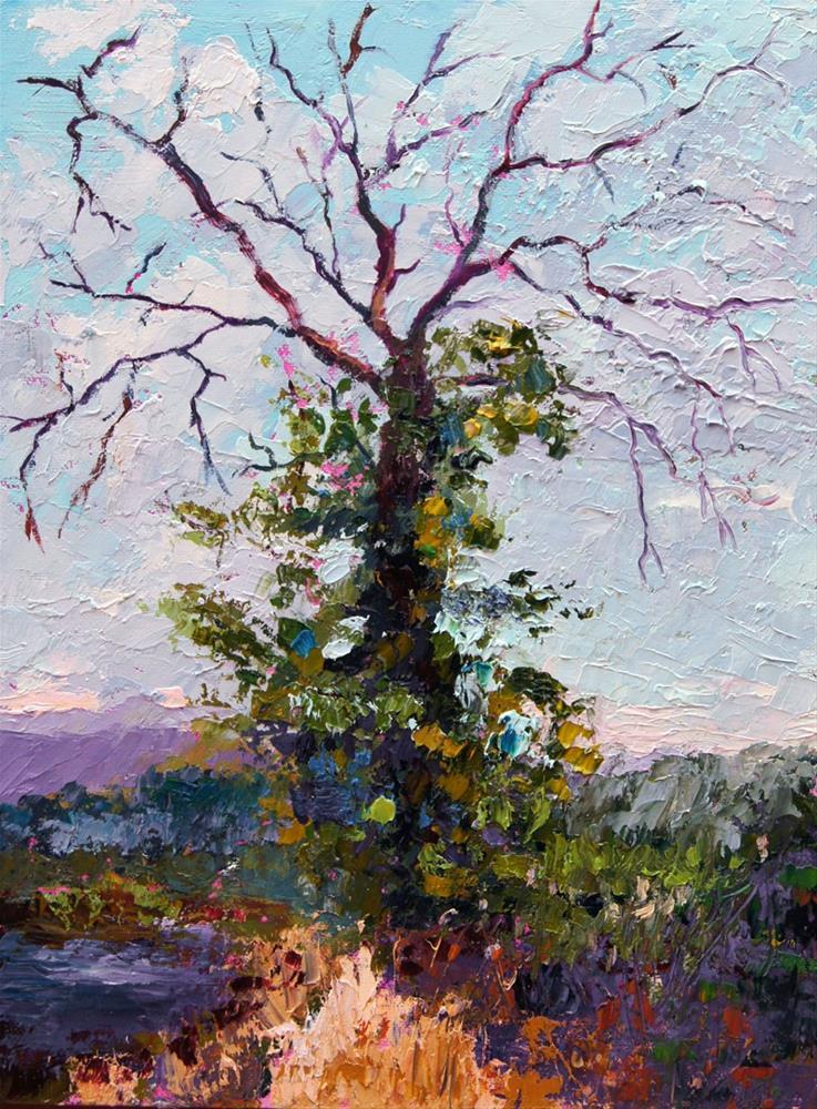 """Spendour in Death palette knife painting"" original fine art by Marion Hedger"