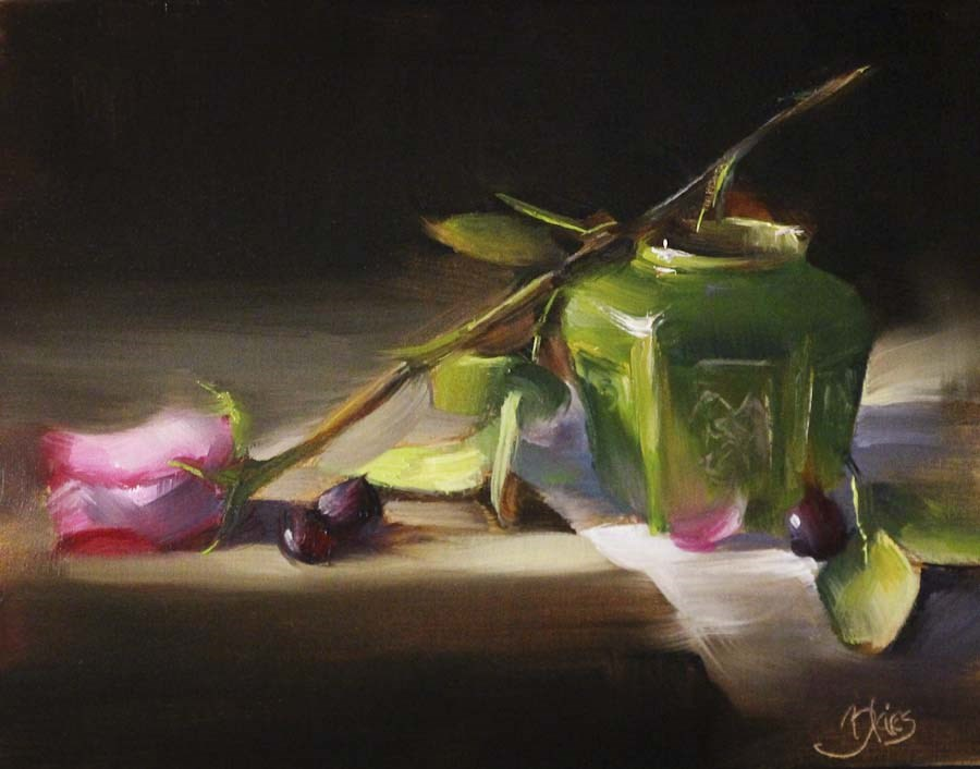 """One Pink Rose and a Ginger Jar"" original fine art by Pamela Blaies"