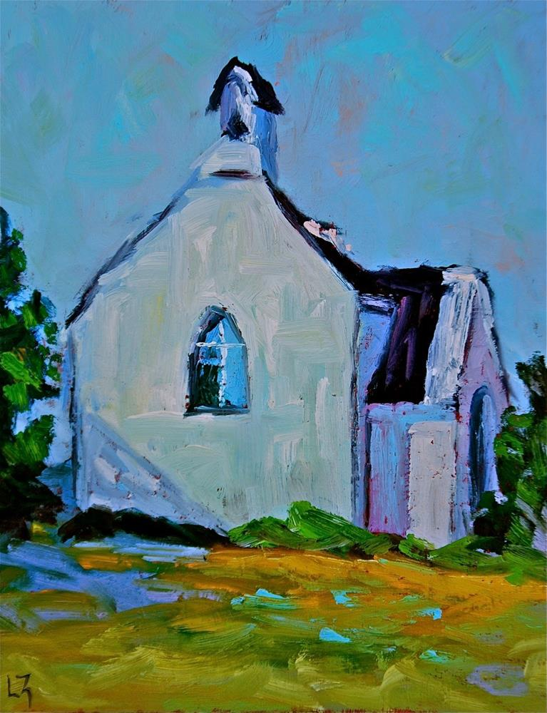 """Country Church"" original fine art by Liz Zornes"