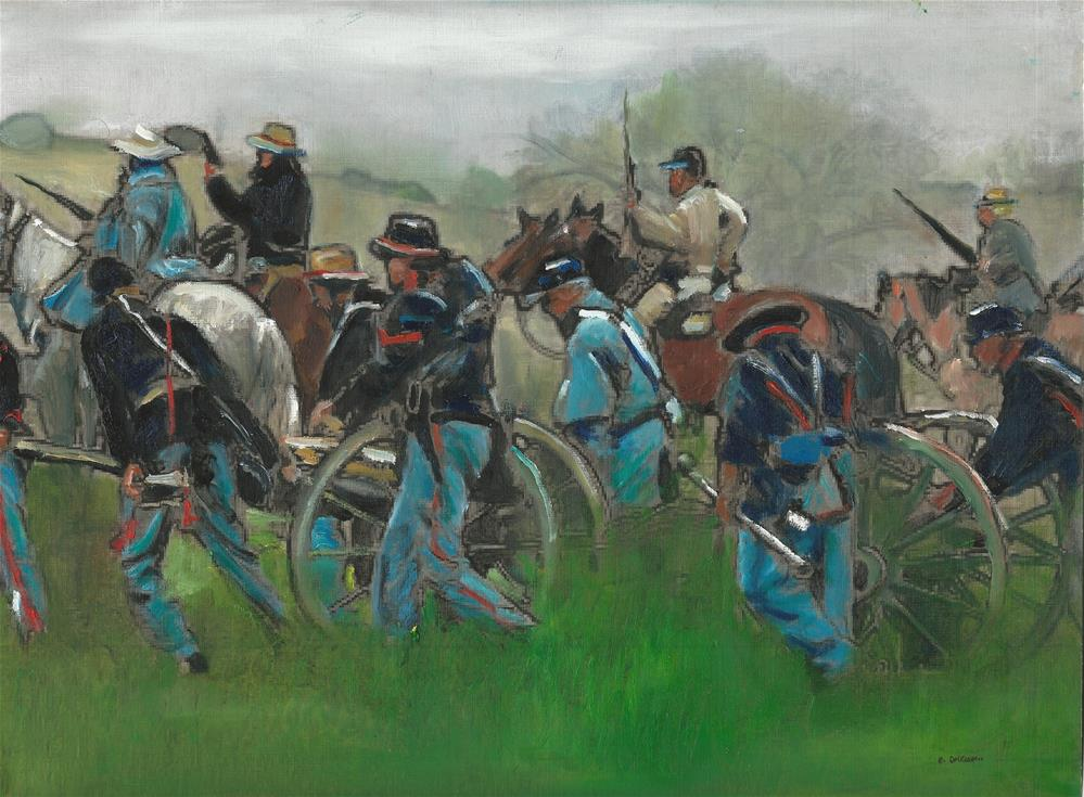 """A Scene from The Civil War (12 x 16 oil on canvas paper - no frame)"" original fine art by Ramon DelRosario"