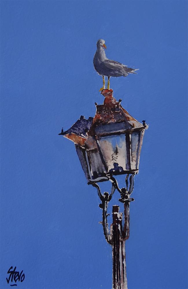 """Seagull on a broken lampost"" original fine art by Martin Stephenson"