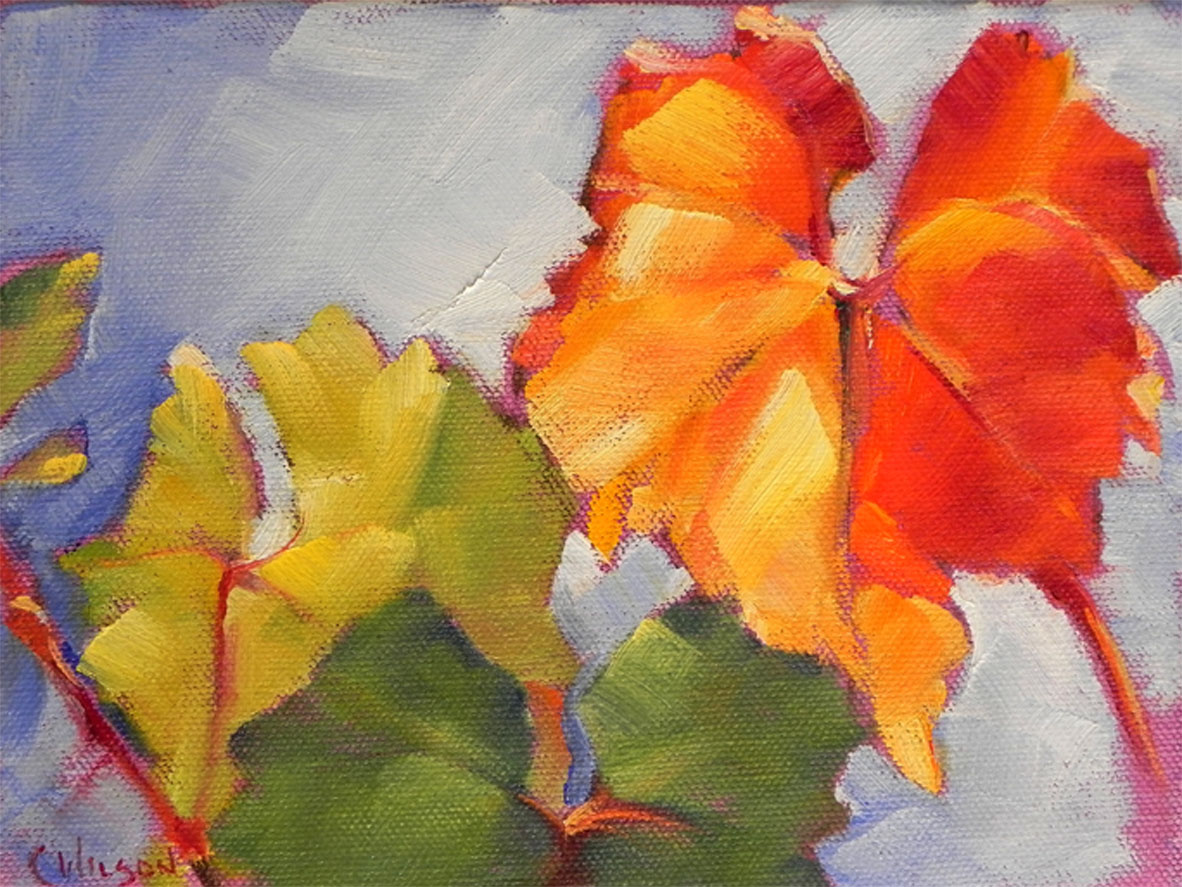 """Wine Leaf"" original fine art by Cheryl Wilson"