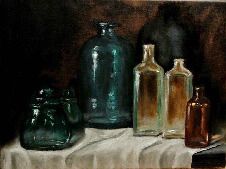 """Bottles"" original fine art by Mary Datum"