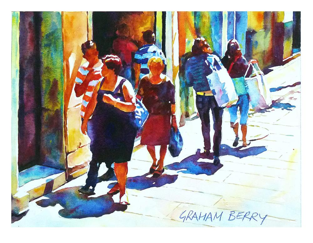 """Sunny sidewalk."" original fine art by Graham Berry"