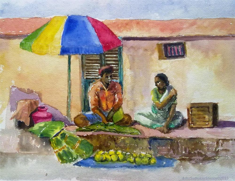 """The Indian Street vendors"" original fine art by Asha Shenoy S"