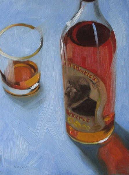 """Pappy Van Winkle 6x8 oil"" original fine art by Claudia Hammer"