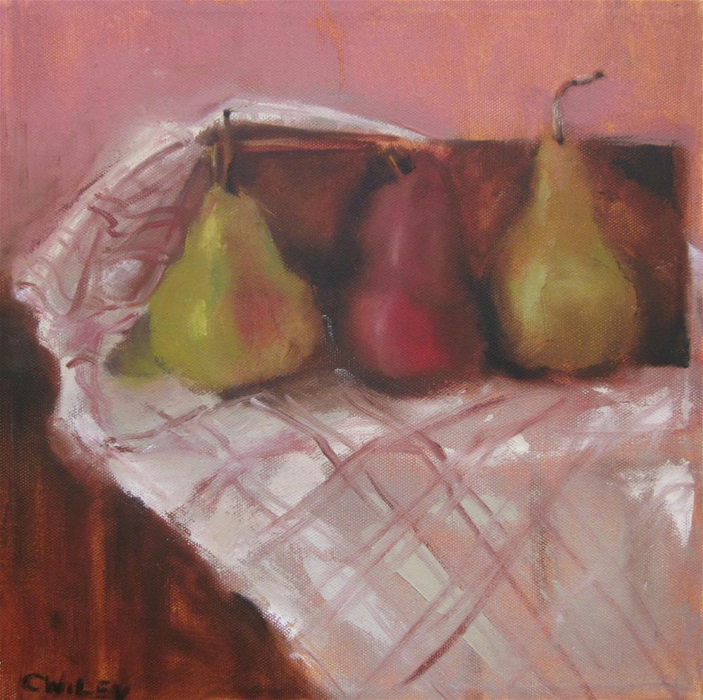 """Three Pears"" original fine art by Carol Wiley"