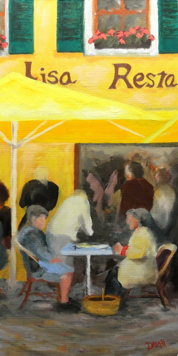 """Yellow Umbrella Cafe"" original fine art by Dalan Wells"