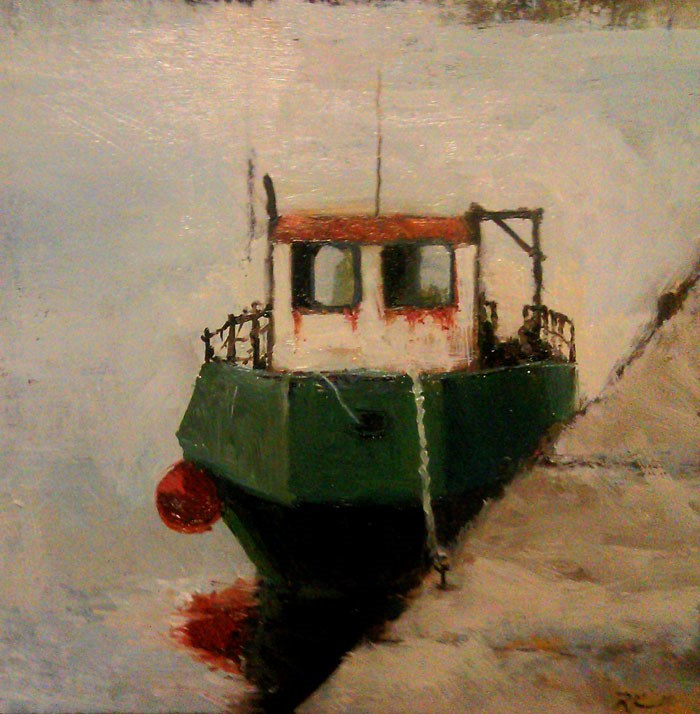 """Old Tugboat at the Dock"" original fine art by Bob Kimball"