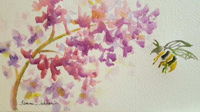 """Hyacinth and Bee"" original fine art by Tammie Dickerson"