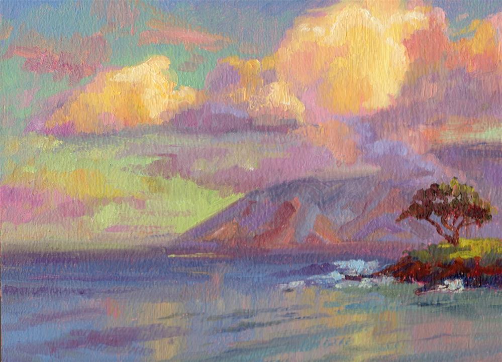 """SUNRISE CLOUDS AND ACACIA"" original fine art by Karen E Lewis"