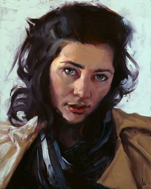 """Woman with Scarf"" original fine art by John Larriva"