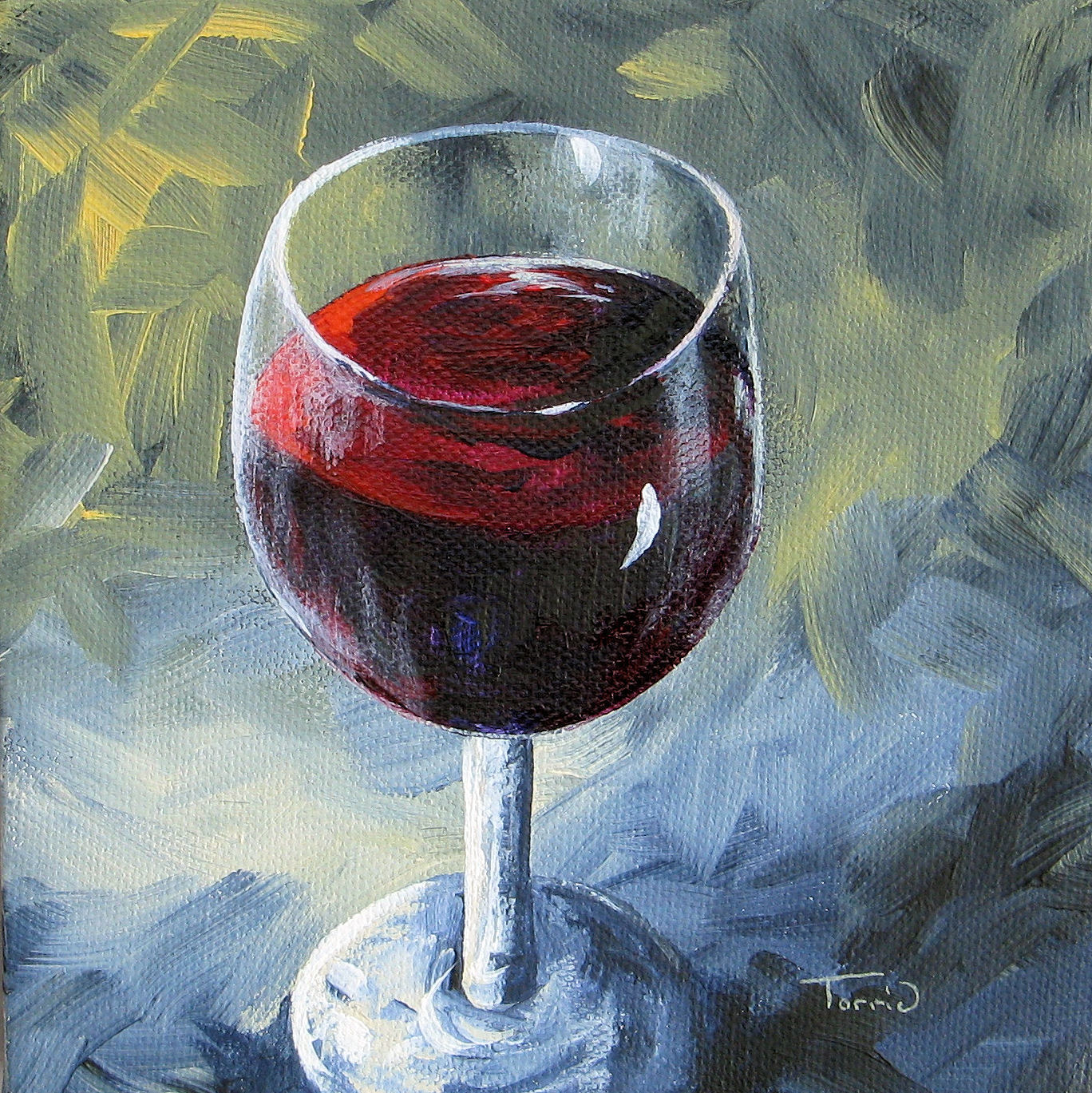 """Glass of Red Wine II"" original fine art by Torrie Smiley"