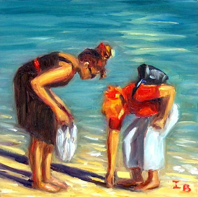"""Beachcombers"" original fine art by Irina Beskina"