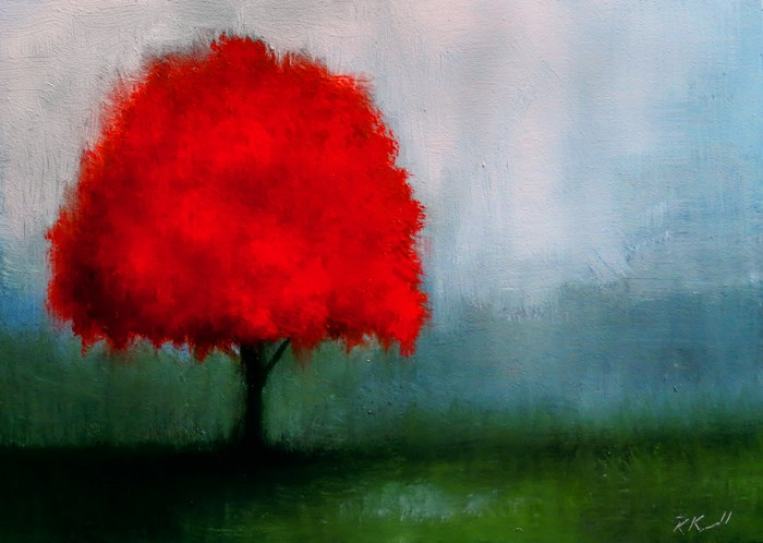 """The Red Tree"" original fine art by Bob Kimball"