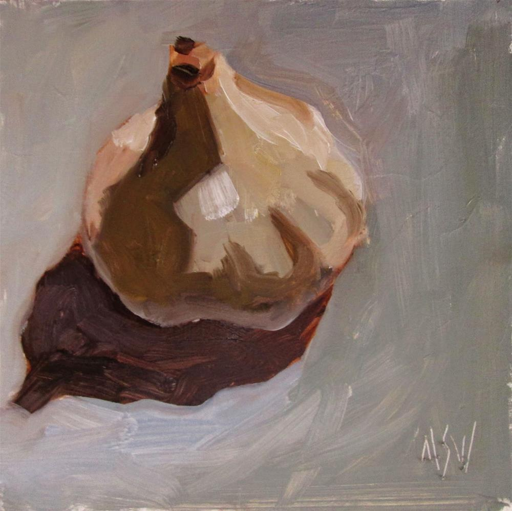 """Von Liebig Class Demo Garlic clove. This a a great little study of garlic if I do say so, myself"" original fine art by Mary Sheehan Winn"