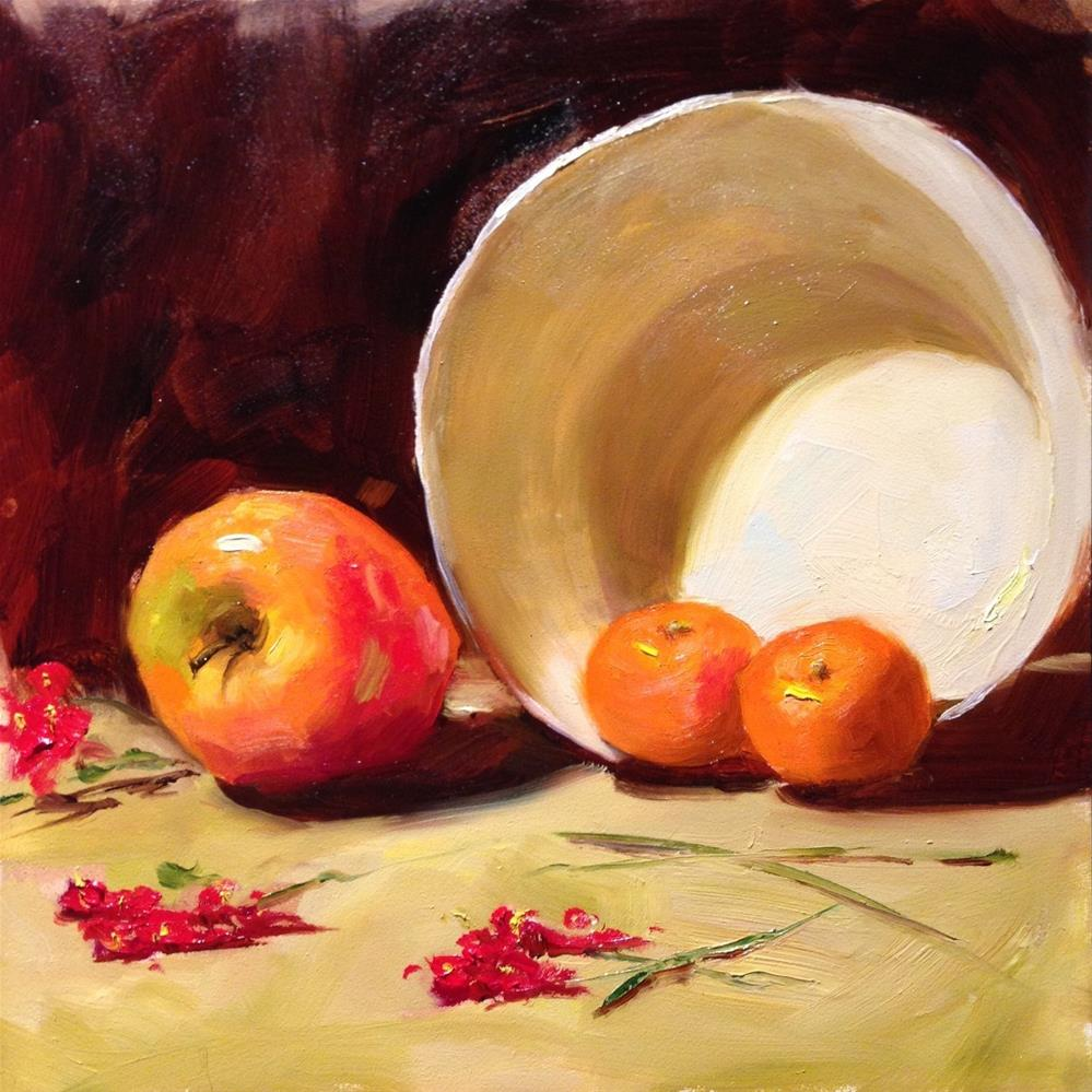 """Clementines in a White Bowl"" original fine art by Dorothy Woolbright"