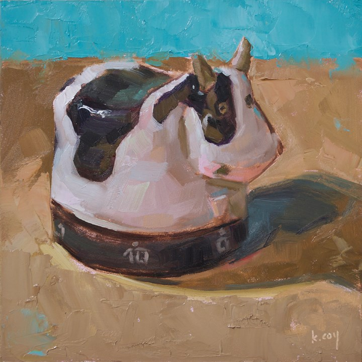 """Cow Timer"" original fine art by Kathleen Coy"