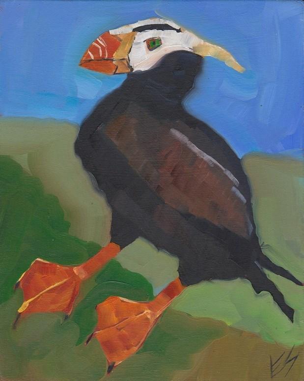 """Tufted Puffin"" original fine art by Elizabeth See"