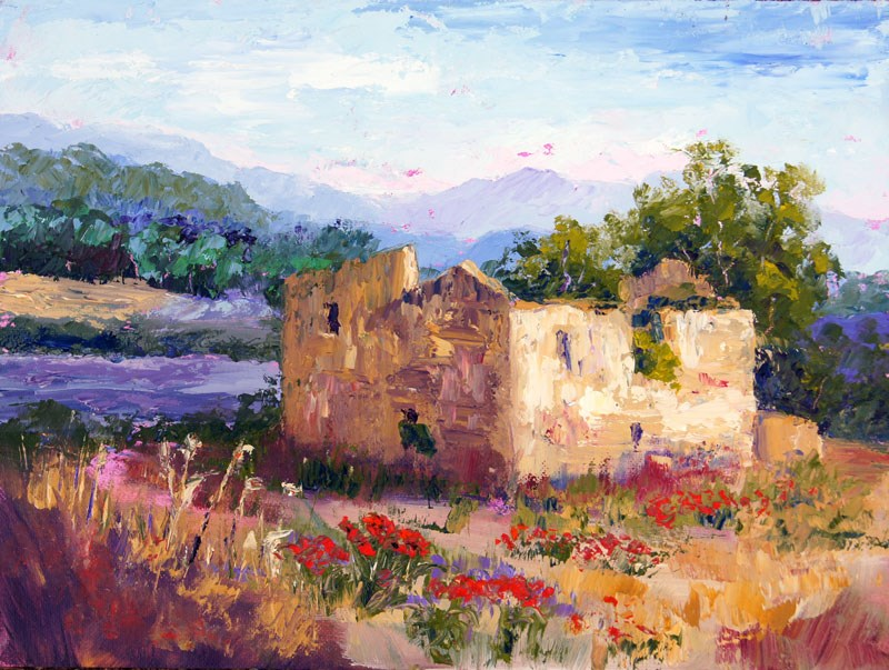 """Abandoned Building in Provence palette knife panginti"" original fine art by Marion Hedger"