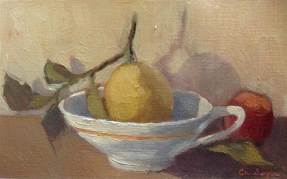 """Lemon in yellow light"" original fine art by Christine Bayle"