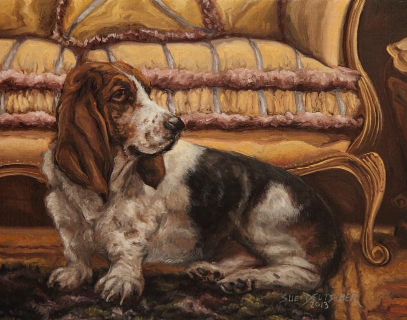 """""""Basset Hount"""" original fine art by Sue Deutscher"""
