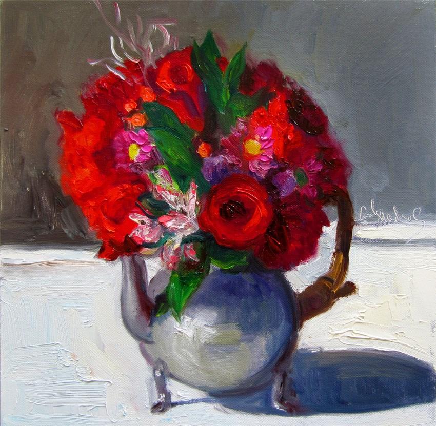"""Roses in Mom's Tea Kettle"" original fine art by Carol Steinberg"